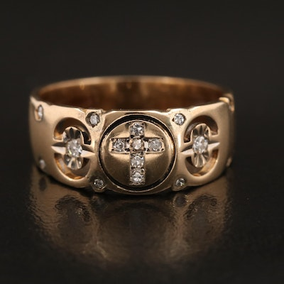 14K Diamond Cross Band