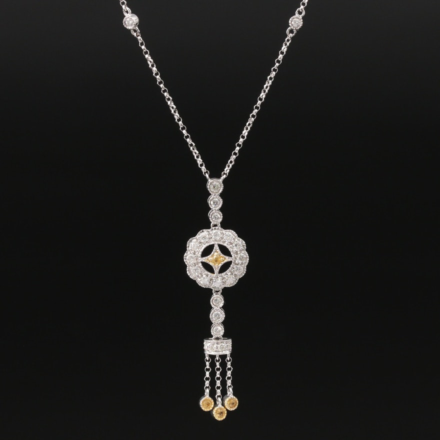 14K Diamond and Sapphire Station Necklace