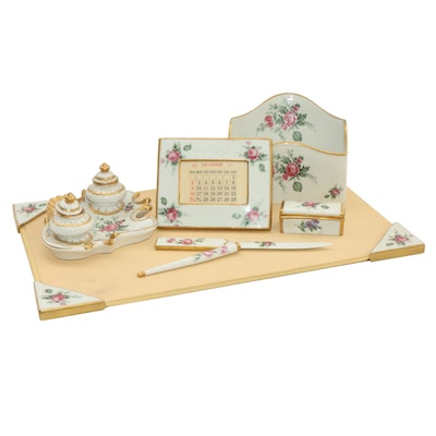 Orlik German Hand Painted Rose Porcelain Desk Set, Early to Mid 20th Century