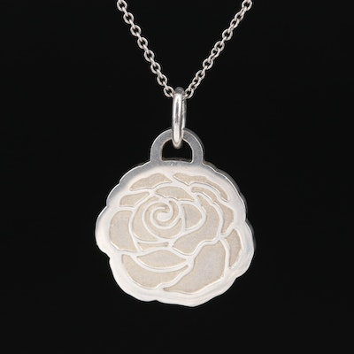 "Tiffany & Co. Sterling ""Go Women 2017"" Marathon Floral Pendant Necklace"