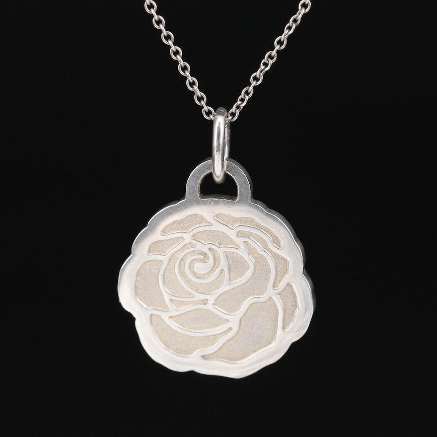 "Tiffany & Co. Sterling ""Go Women 2017"" Marathon Floral Pendant Necklace"