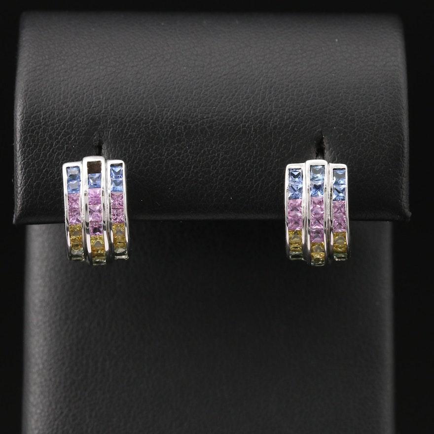 14K Pastel Colored Sapphire Triple Row Earrings