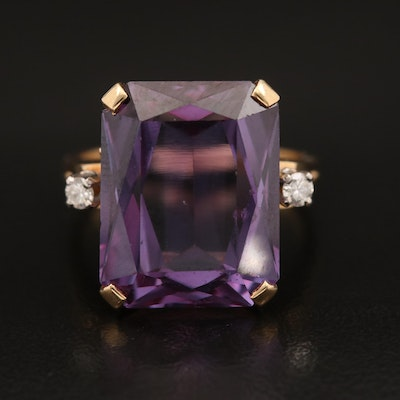 14K Color Changing Sapphire and Diamond Ring