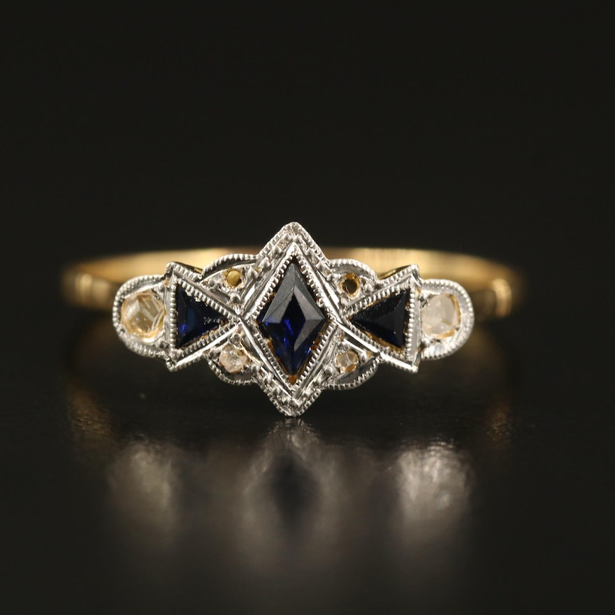 18K Sapphire and Diamond Ring with Platinum Top