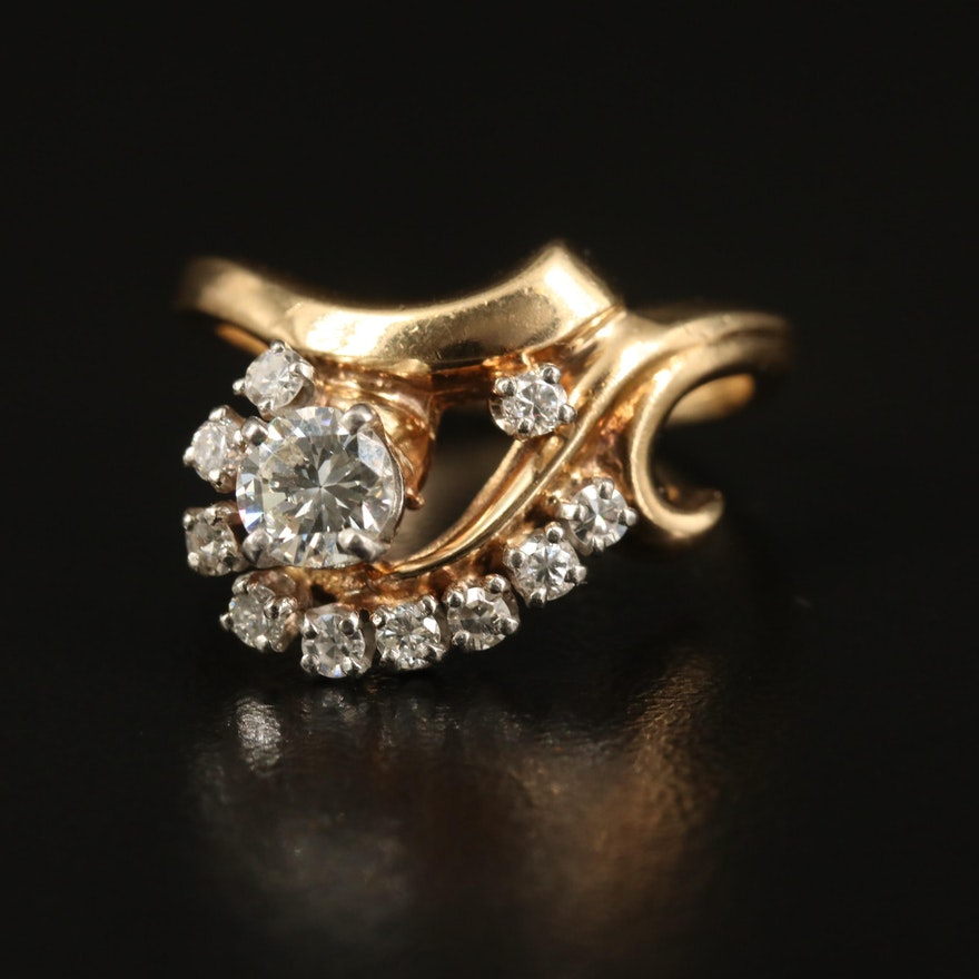 14K Diamond Ring Featuring Scrolling Design