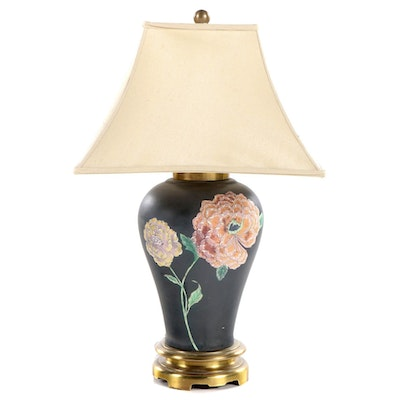Chapman Brass-Mounted and Floral-Painted Ceramic Baluster Vase Table Lamp