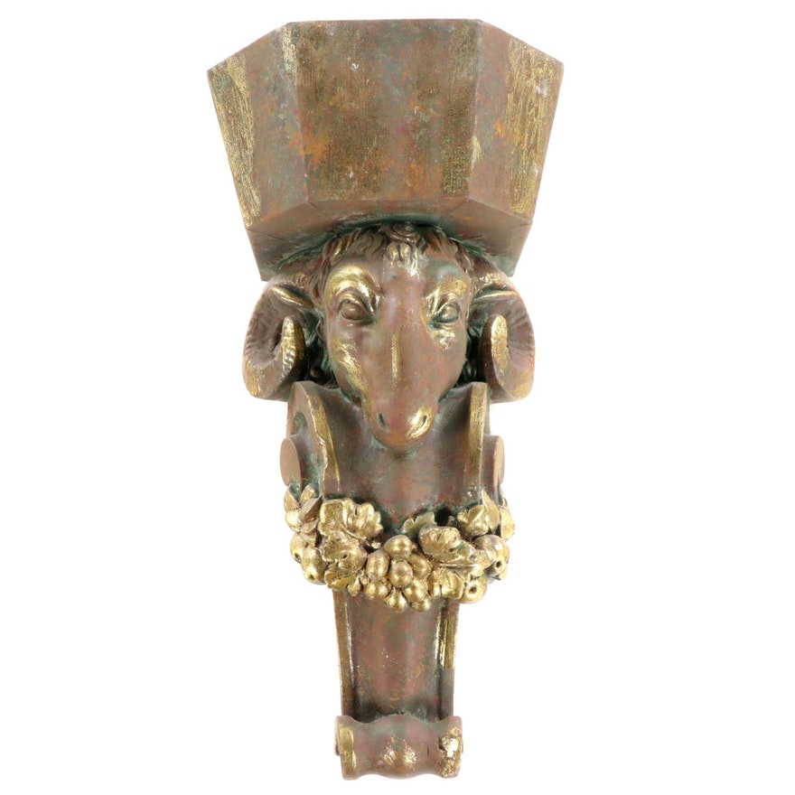 Gilt-Decorated Composite Ram's Head Wall Bracket Panter