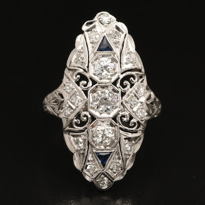 Edwardian Platinum 1.11 CTW Diamond and Sapphire Ring