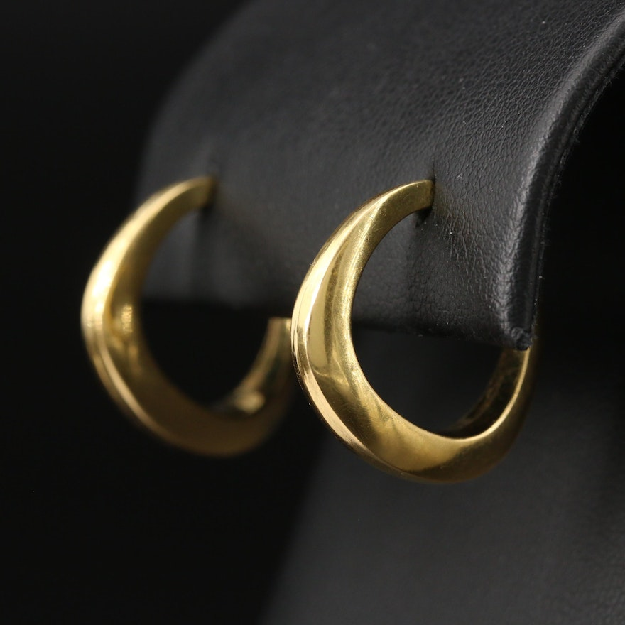 18K Oblong Hoop Earrings