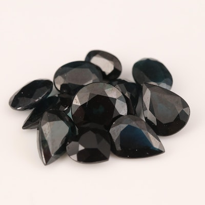 Loose 12.82 CTW Mixed Faceted Sapphires and Black Onyx
