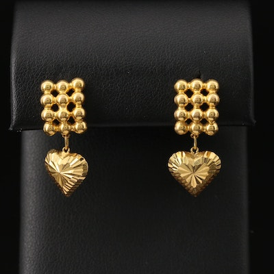 18K Heart Drop Earrings