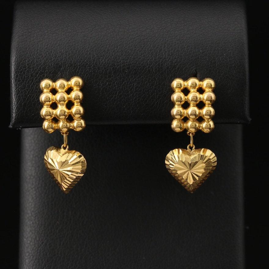 18K Heart Drop Earrings