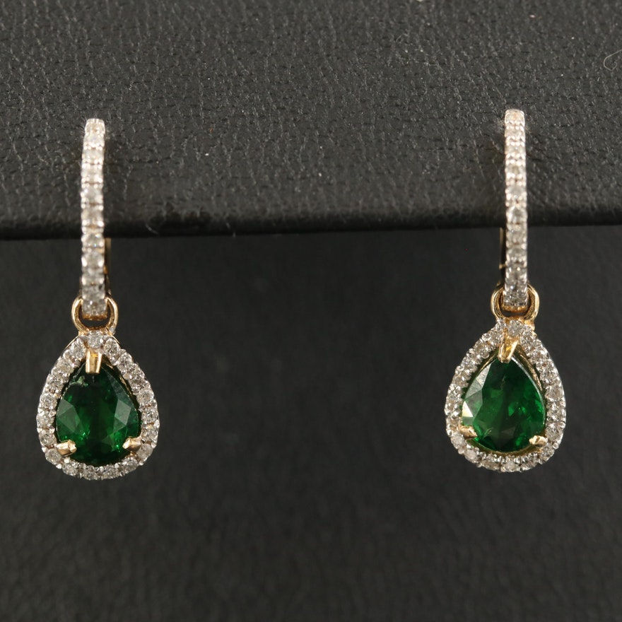 18K Tsavorite and Diamond Earrings