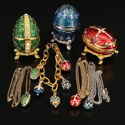 Stauer Enameled Egg Trinket Boxes with Matching Necklaces and Charm Bracelet