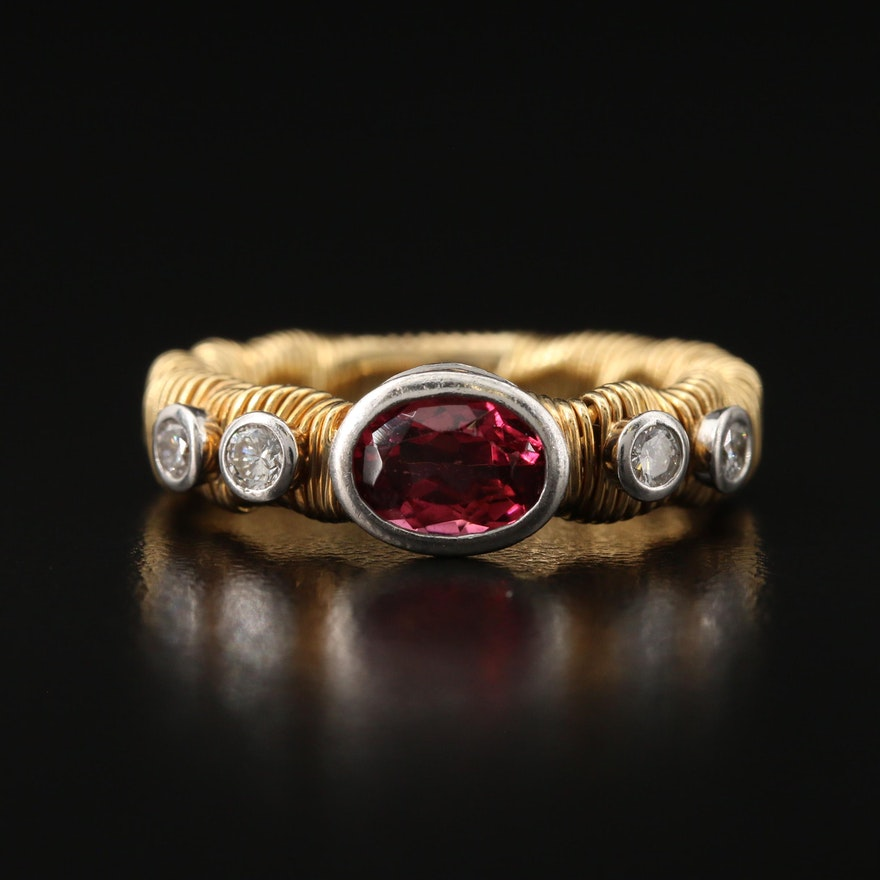 David Benlolo 18K and Platinum Pink Tourmaline and Diamond Wire Wrap Ring