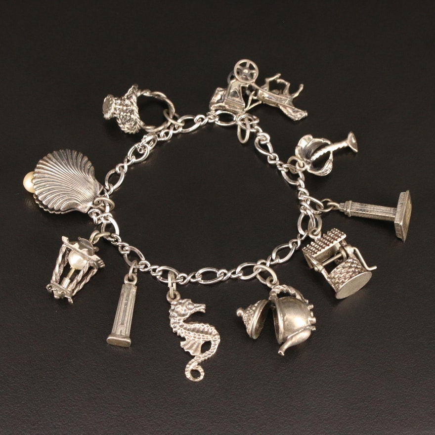 Vintage Sterling Silver Charm Bracelet Featuring Beau Charms
