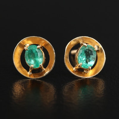 18K Emerald Stud Earrings