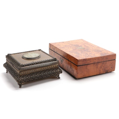 Brass and Carved Serpentine Medallion Box with Burl Wood Musical Jewelry Box