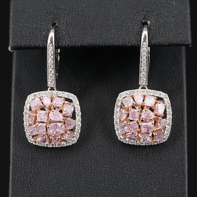18K 4.86 CTW Diamond Drop Earrings with GIA Report