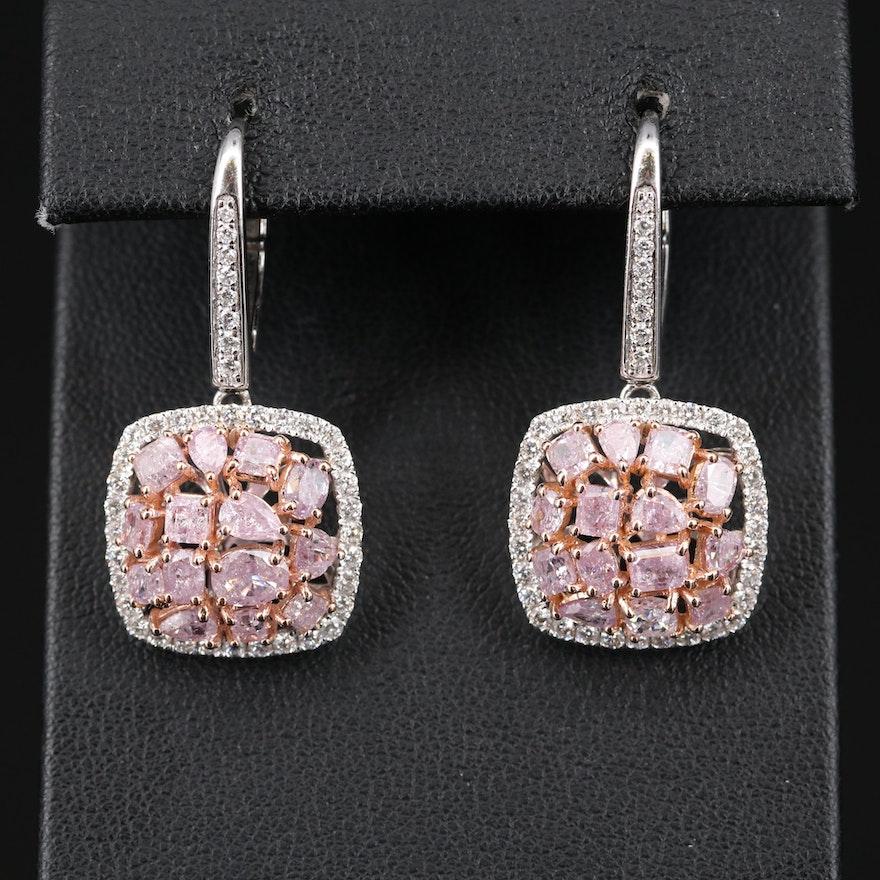 18K 4.86 CTW Diamond Drop Earrings with GIA Report