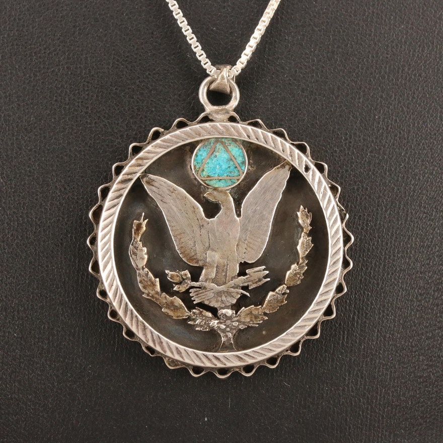 Sterling Necklace with Reverse of Morgan Silver Dollar and Turquoise