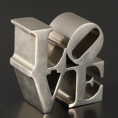 "Robert Indiana ""Love"" Chrome Plated Paperweight, Vintage"