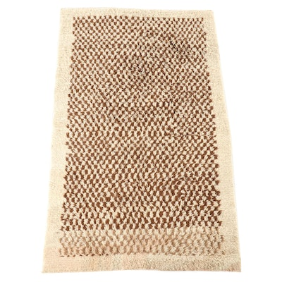 4'10 x 8'1 Hand-Knotted Moroccan Berber Wool Area Rug