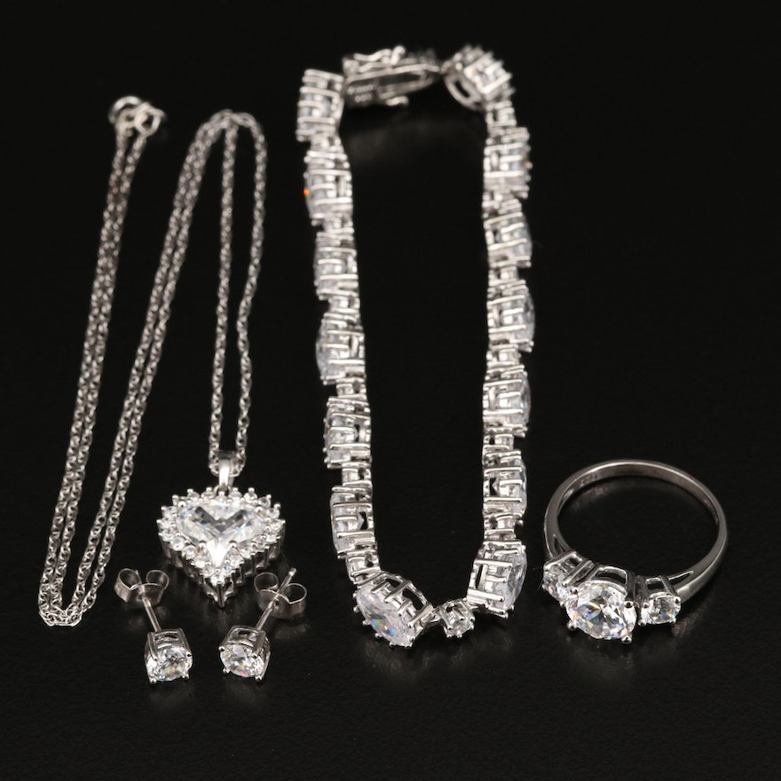 Stauer Sterling Cubic Zirconia Jewelry with Boxes