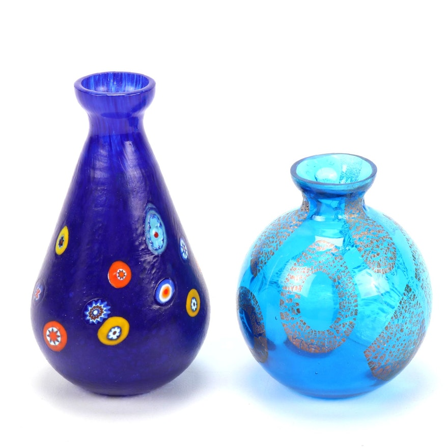 Murano Millefiori and Other Art Glass Bud Vases, Contemporary