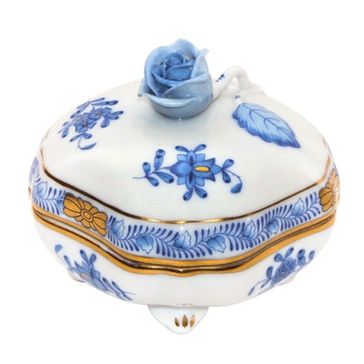 "Herend ""Chinese Bouquet"" Blue Porcelain Covered Bonbon Dish"