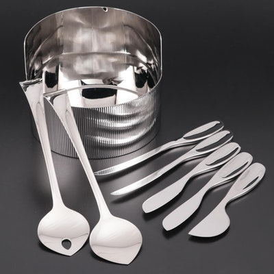 "Georg Jensen ""Urkiola"" Stainless Steel Bowl, Cheese Knives, and Salad Servers"