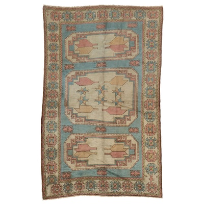 5'10 x 9'4 Hand-Knotted Turkish Village Area Rug, Mid-Late 20th Century