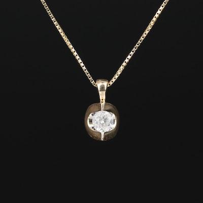 14K 0.16 CT Diamond Solitaire Necklace