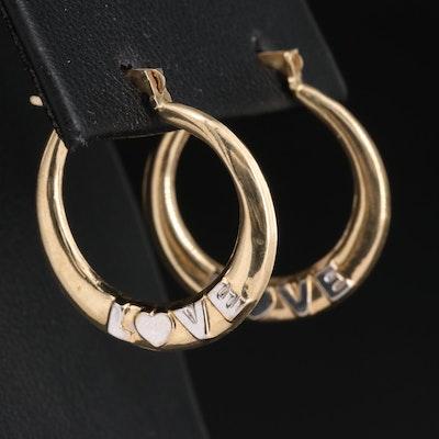 """10K """"LOVE"""" Hoop Earrings"""