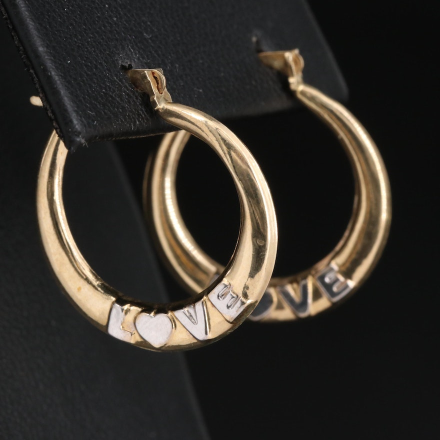 "10K ""LOVE"" Hoop Earrings"
