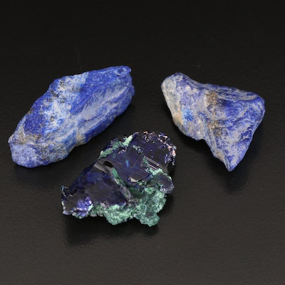 Loose Rough Cut Azurmalachite and Lapis Lazuli