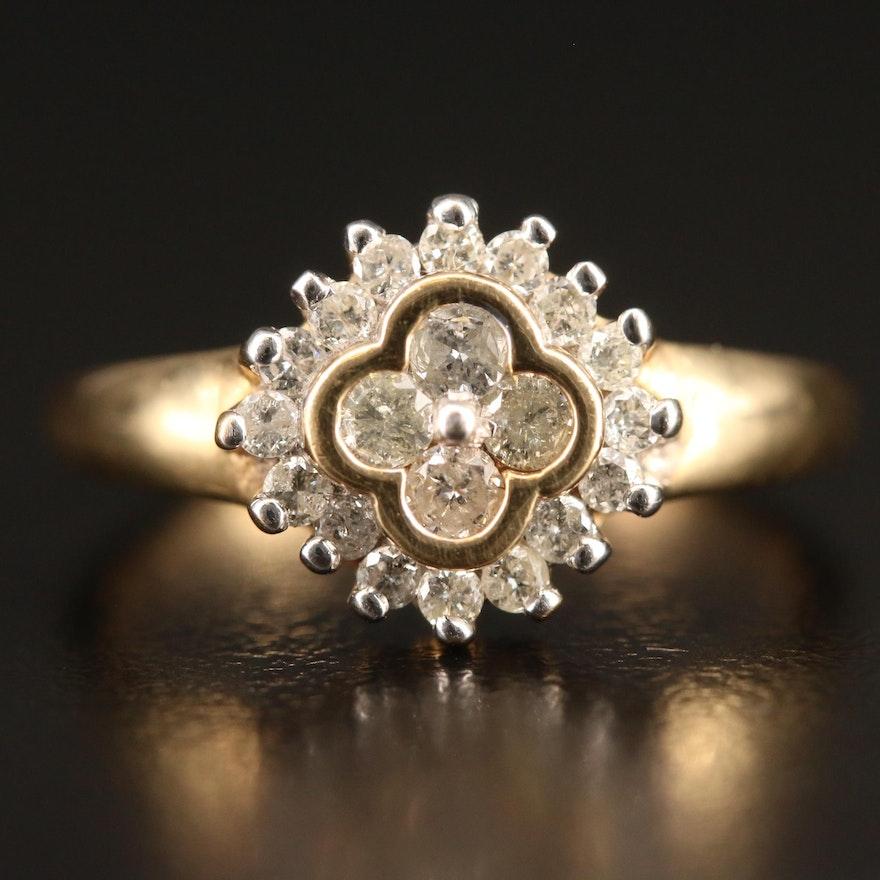 10K Diamond Quatrefoil Ring