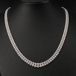Platinum 5.00 CTW Diamond Graduate Double Row Riviera Necklace