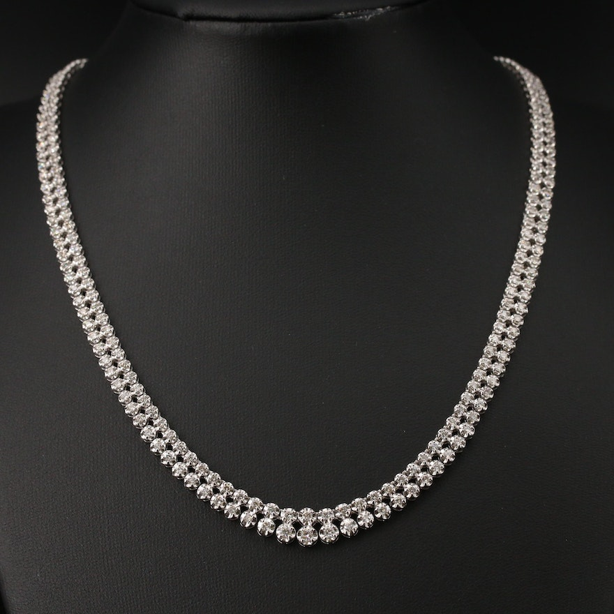 Platinum 5.00 CTW Diamond Graduate Double Row Riviera Necklace