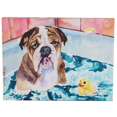 Offset Lithograph of Dog in the Bath, 2016