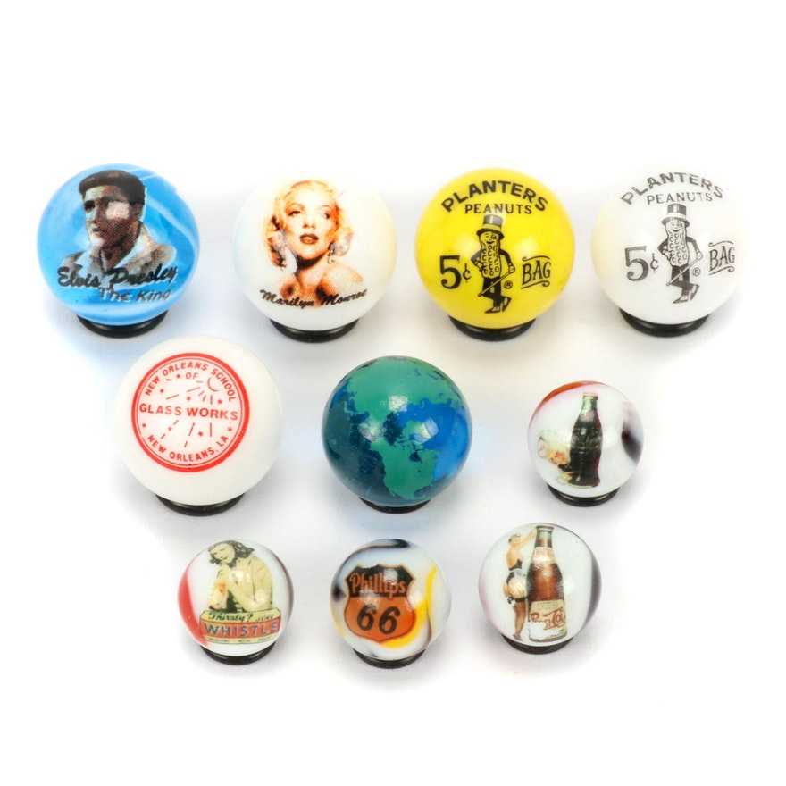 Marilyn Monroe, Elvis Presley, Pepsi-Cola, and More Customized Marbles