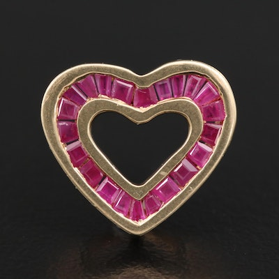10K Channel Set Ruby Heart Pendant