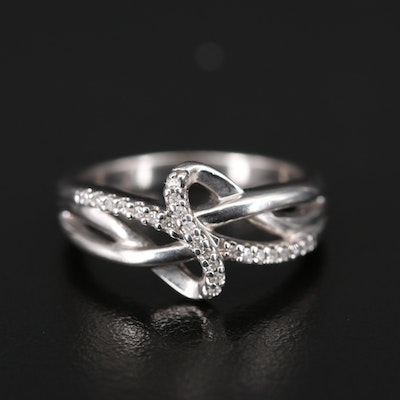 Sterling Diamond Crossover Swirl Band
