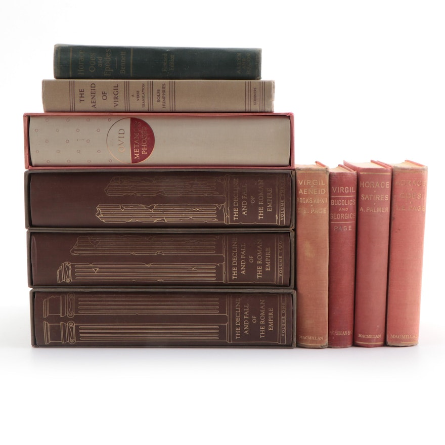 Roman Epic Poetry and History Books Including Ovid and Horace, Mid-20th Century