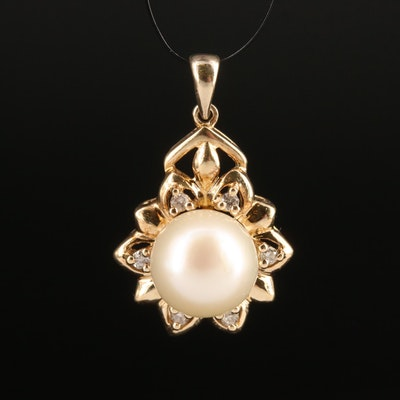10K Pearl and Diamond Pendant