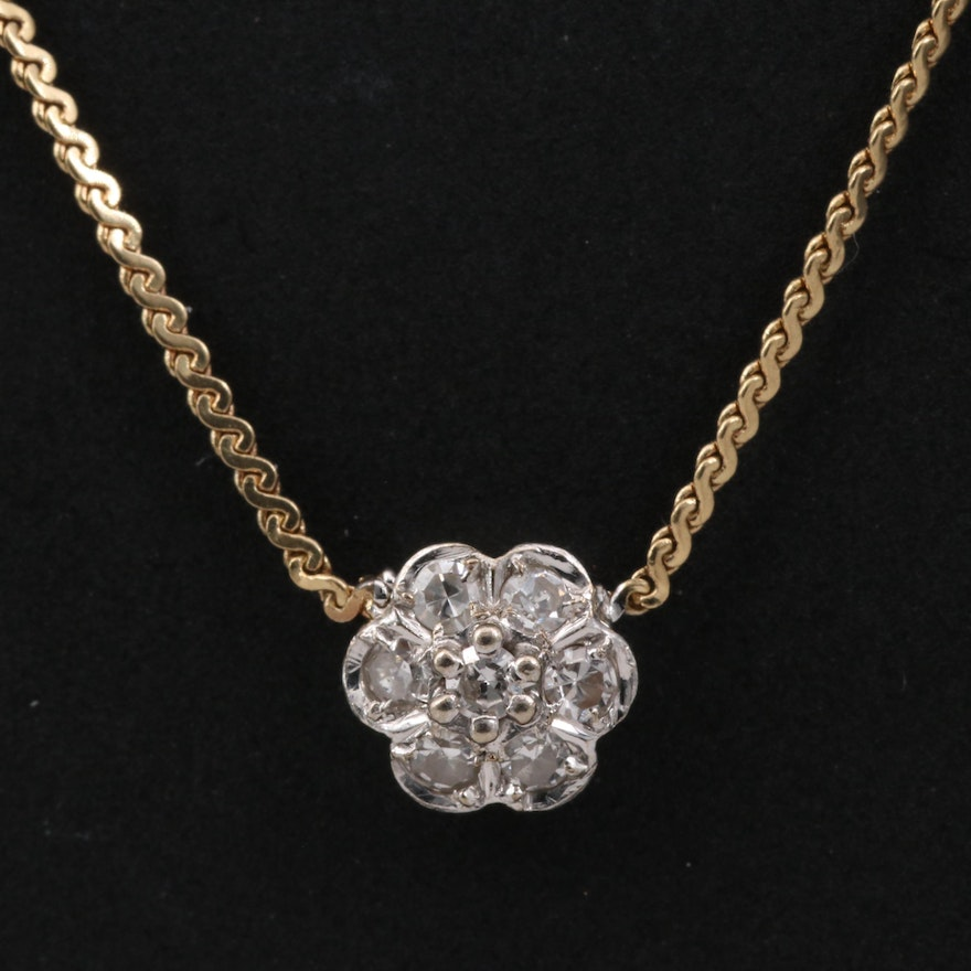 14K Diamond Flower Necklace