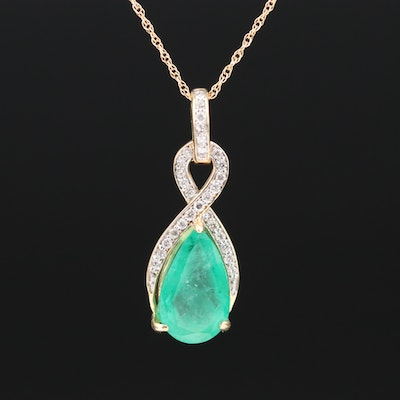 18K 2.18 CT Emerald and Diamond Pendant on 14K Chain