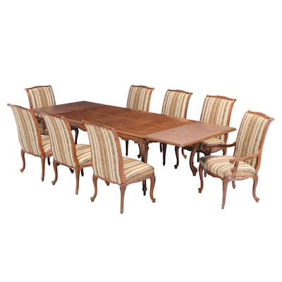 Bau Louis XV Style Walnut and Burl Walnut Dining Table with Chairs