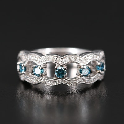 14K Blue Diamond and Diamond Band
