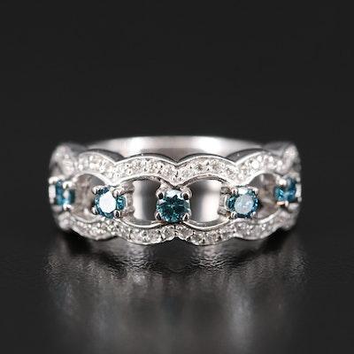 14K Blue Diamond and Diamond Band